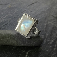 Moonstone silver statement ring U.K. P