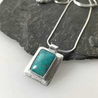 Sterling silver and rectangular turquoise pendant and chain