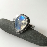 Silver and teardrop moonstone statement ring U.K. P.5