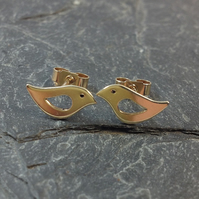 9ct gold little bird stud earrings