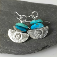 silver and blue turquoise earrings Ulu tribal blade