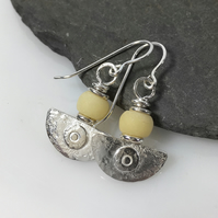 Ulu, handmade silver and cream stone earrings