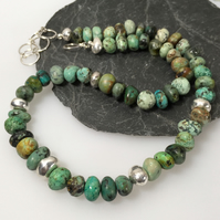 African turquoise and silver pebble necklace