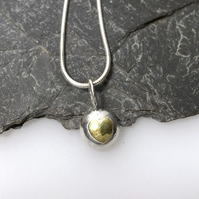 Silver and gold heart pebble pendant and chain