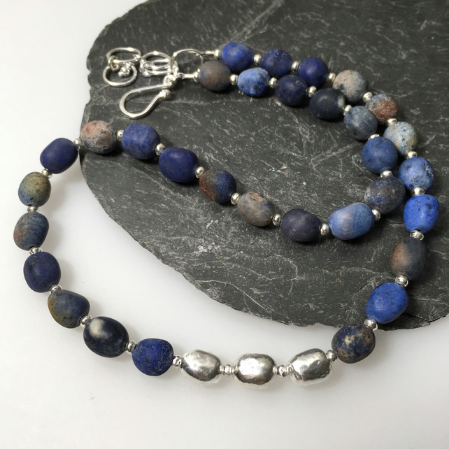 Dumortierite and silver bead necklace