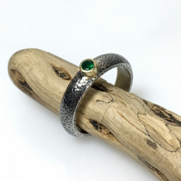 Silver gold and emerald ring