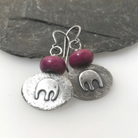 Silver and pink jasper baby elephant earrings