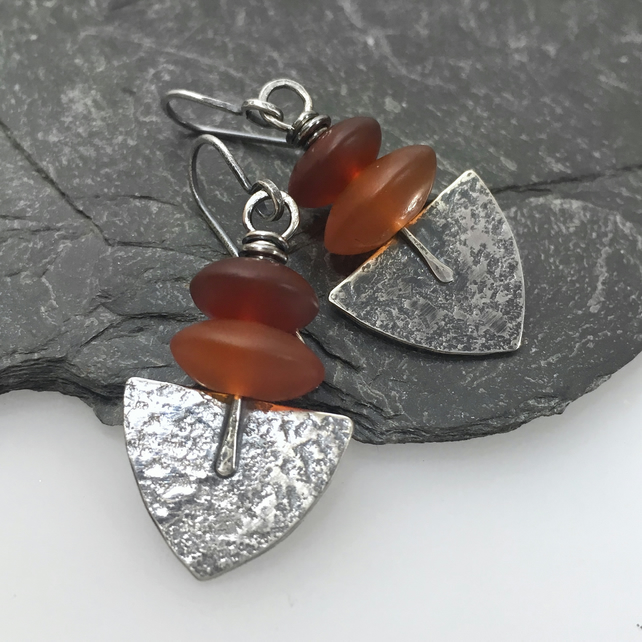 Oxidised silver and matte orange agate Shovel earrings