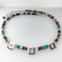 Sterling silver square bead multi coloured necklace.