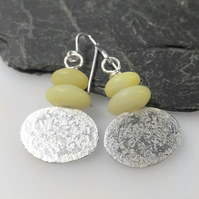 Silver and lemon jasper oval earrings