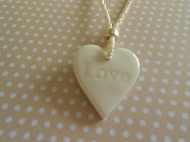 Love Heart Ceramic Necklace (was 11.00 now 9.50)