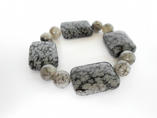 Obsidian and rutile quartz bracelet
