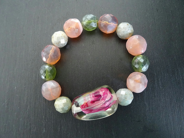 Chunky Faceted Glass and Resin Bracelet