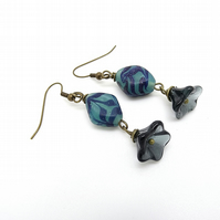 Czech Glass Lozenge and Petal earrings