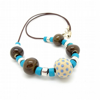Turquoise and Brown Ceramic Necklace