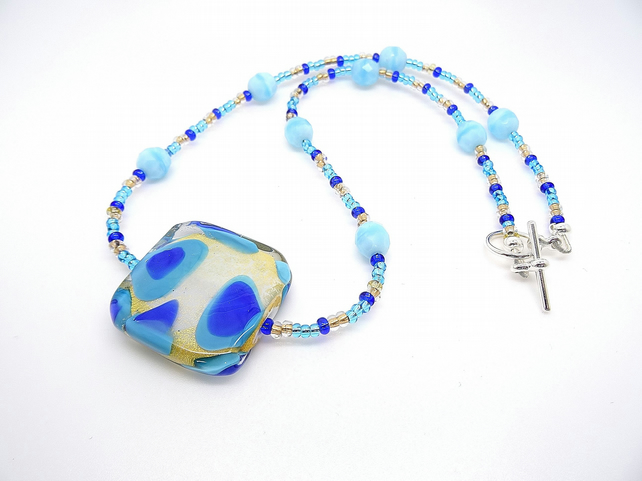 Murano Glass Pendant, Venetian Glass Necklace, Blue Necklace.
