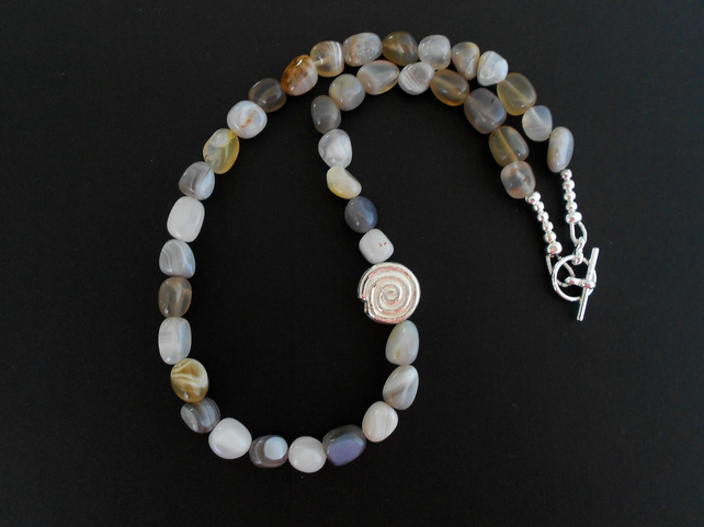 SALE!! was 18 pounds now 15 pounds Botswana Agate Nugget Necklace