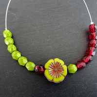 Czech Glass Flower Necklace Cranberry and Olive Green