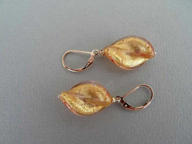 Murano glass earrings,light topaz gold foil twist earrings,gold filled earrings,