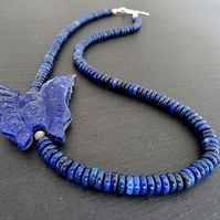 Lapis Lazuli Necklace,Blue Necklace,Butterfly Necklace,Ladies Necklace,Gift.