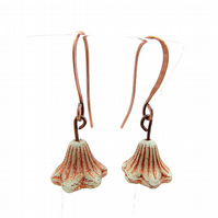 Bell Flower Copper Inlay Earrings (Mint)