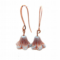 Bell Flower Copper Inlay Earrings (Aquamarine)