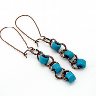 Earrings Turquoise Ceramic Tubes.