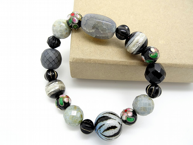 Murano, cloisonne and mixed stone bracelet. Venetian Glass Bracelet,