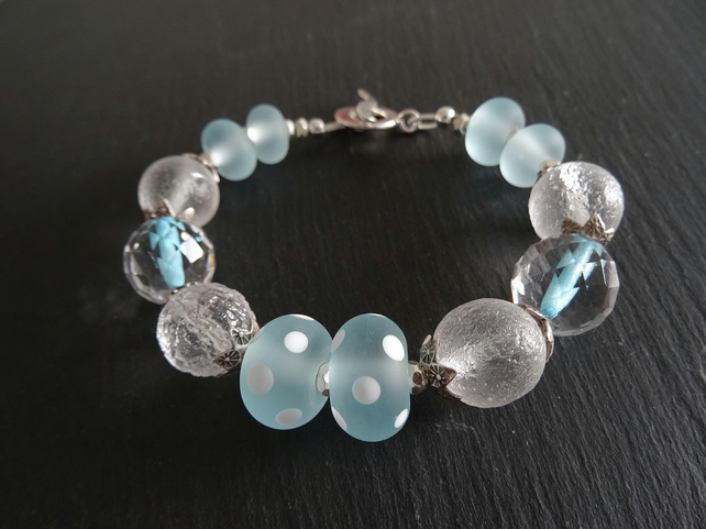 Handmade Lampwork and Hilltribe Silver Bracelet,Czech Glass Bracelet.