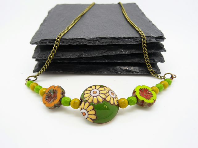 Ceramic and Czech Glass Necklace