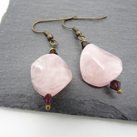 Rose Quartz and Swarovski earrings