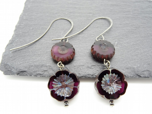 Czech Glass Flower Earrings (Amethyst Colour)