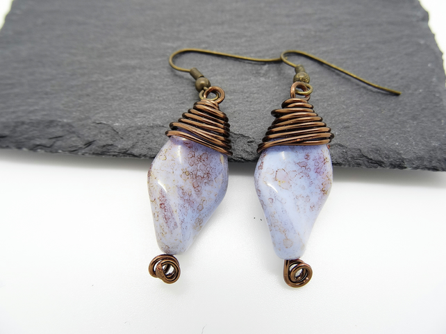 Czech Picasso Wire Wrapped Bead Earrings