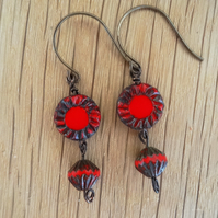 Czech Glass Earrings,Sunflower Earrings,Red Earrings,Picasso Finish Earrings