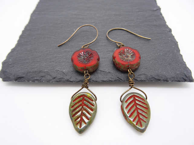 Czech glass earrings,Flower and leaf earrings,burnt orange and green earrings.