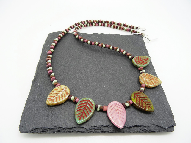 Czech Glass Leaves Necklace, Czech Glass Peanut Bead Necklace,Ladies Necklace.
