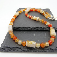 Faceted Carnelian and Botswana Agate Necklace