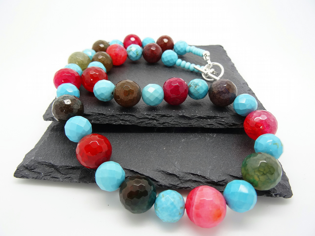 Rainbow Faceted Agate and Faceted Turquoise Necklace