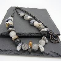 Rutile Quartz and Agate Necklace