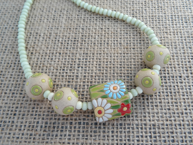 Ceramic Pillow Bead Necklace