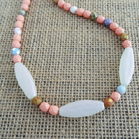 Czech Glass Necklace,Salmon Pink Necklace,Ladies Necklace