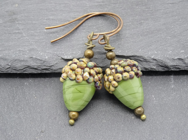 Handmade Lampwork Glass Earrings, Acorn Earrings, Green Earrings, Glass Earrings