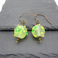 Lampwork Glass Earrings, Flower Earrings, Lemon and Lime Earrings, glass earring