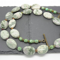 Jade and Czech Glass Necklace,Green Necklace,Ladies Necklace,