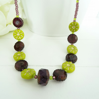 Aubergine and Lime Czech Glass Necklace