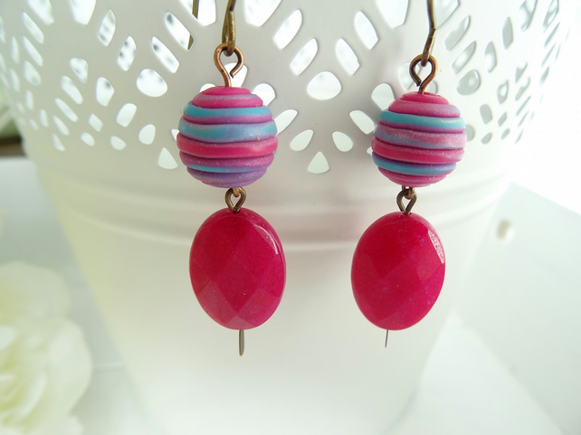 Faceted Jade Earrings,Polymer Clay Earrings, Fuchsia Earrings,Ladies Earrings.