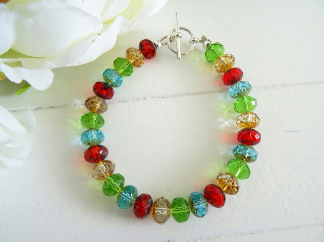 SALE!!! Czech Glass Picasso Bead Bracelet