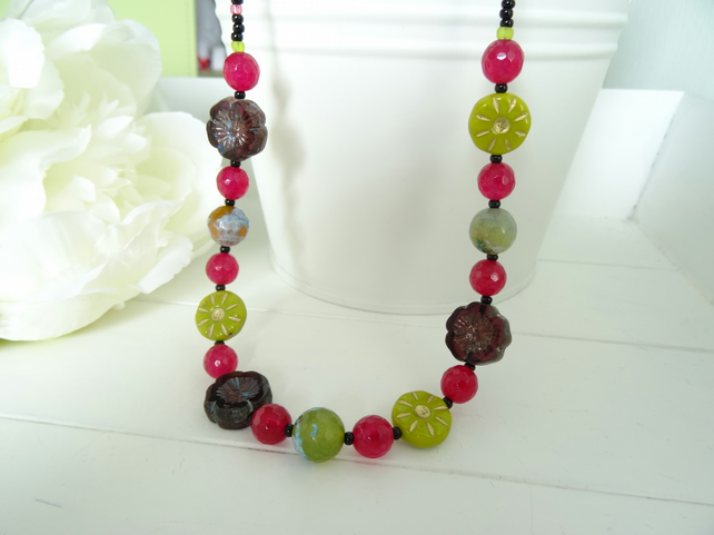 Faceted Agate and Czech Glass Necklace