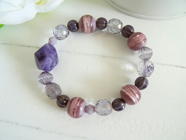 SALE!!! Amethyst Nugget Bracelet, czech glass bracelet, purple bracelet,.