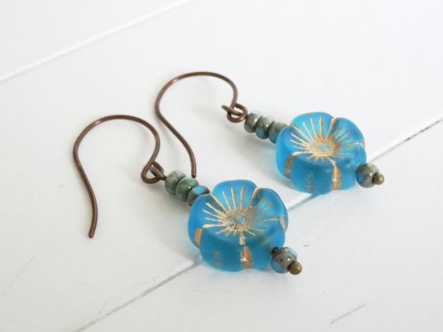 Czech Glass Earrings, Flower Earrings, Blue Earrings, Aqua Earrings,